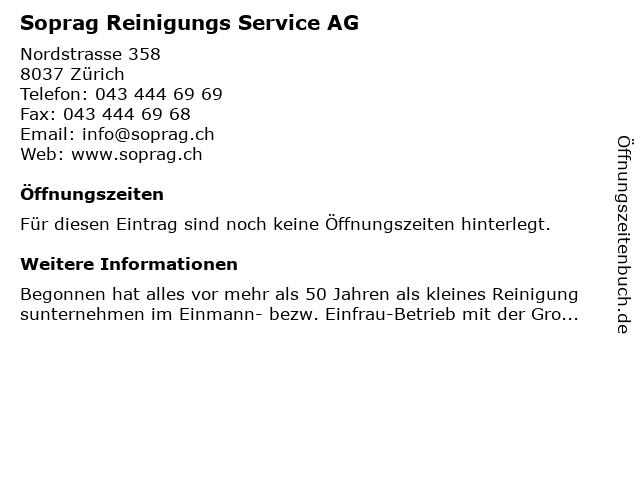 Soprag Reinigungs Service AG in Zürich: Adresse und Öffnungszeiten