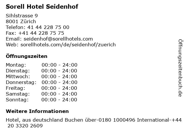 Sorell Hotel Seidenhof in Zürich: Adresse und Öffnungszeiten