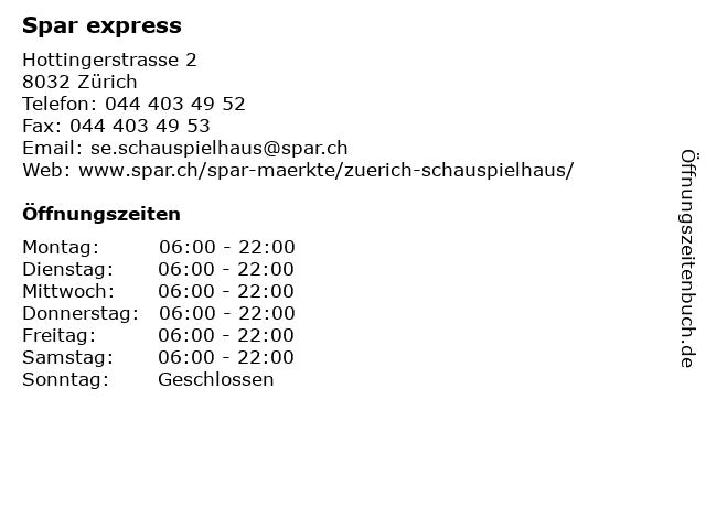 Spar express in Zürich: Adresse und Öffnungszeiten