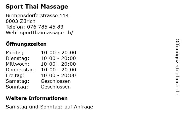 Sport Thai Massage in Zürich: Adresse und Öffnungszeiten