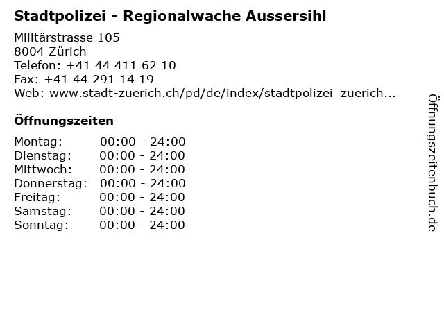 Stadtpolizei - Regionalwache Aussersihl in Zürich: Adresse und Öffnungszeiten