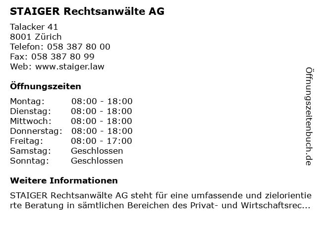 Staiger Rechtsanwälte AG in Zürich: Adresse und Öffnungszeiten
