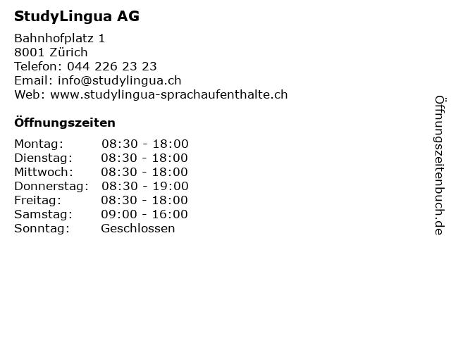 StudyLingua AG in Zürich: Adresse und Öffnungszeiten