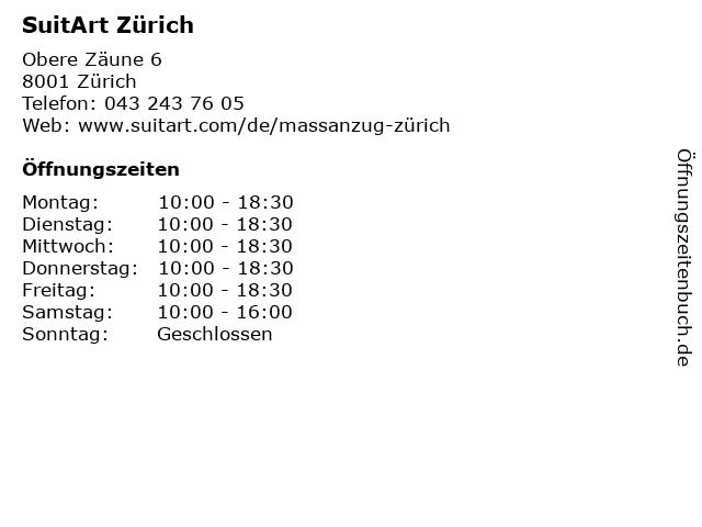 SuitArt Zürich in Zürich: Adresse und Öffnungszeiten