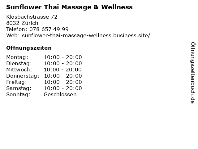 Sunflower Thai Massage & Wellness in Zürich: Adresse und Öffnungszeiten