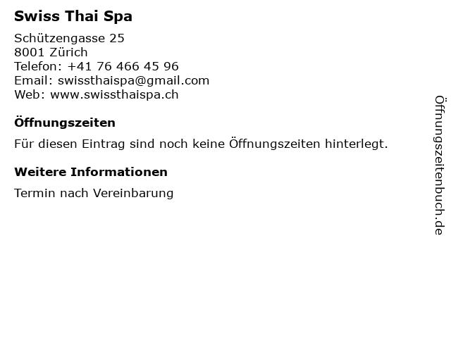 Swiss Thai Spa in Zürich: Adresse und Öffnungszeiten