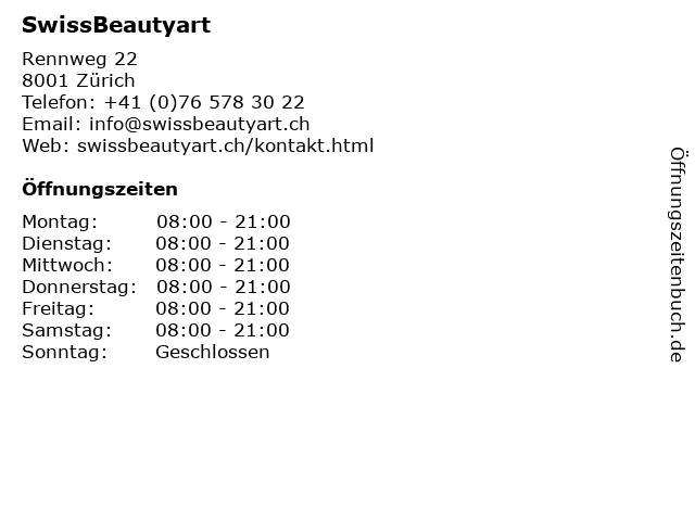 SwissBeautyart in Zürich: Adresse und Öffnungszeiten