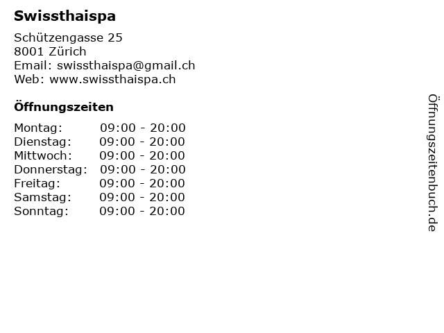 Swissthaispa in Zürich: Adresse und Öffnungszeiten