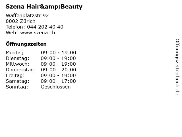 Szena Hair&Beauty in Zürich: Adresse und Öffnungszeiten