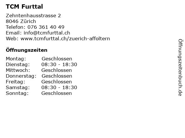 TCM Furttal in Zürich: Adresse und Öffnungszeiten