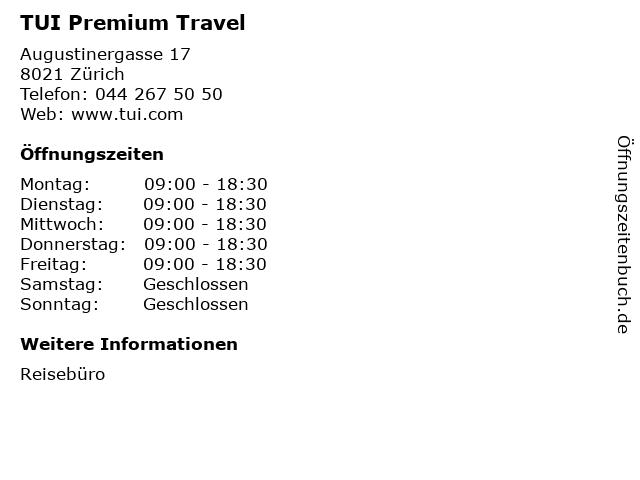 TUI Premium Travel in Zürich: Adresse und Öffnungszeiten