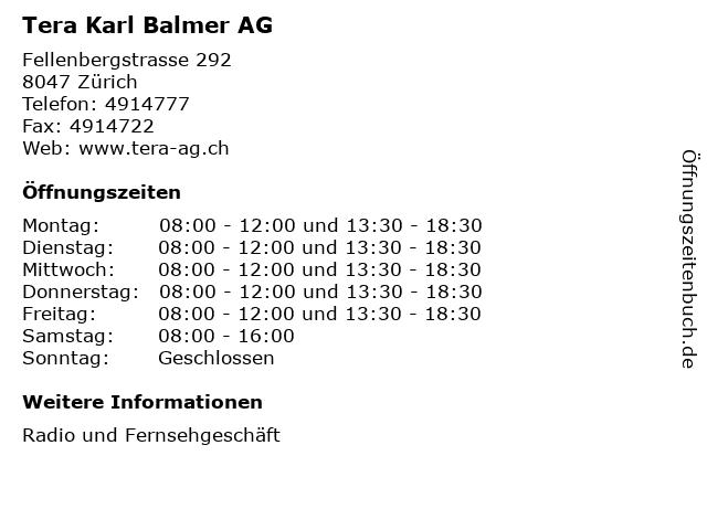 Tera Karl Balmer AG in Zürich: Adresse und Öffnungszeiten