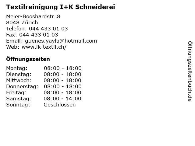 Textilreinigung I+K Schneiderei in Zürich: Adresse und Öffnungszeiten