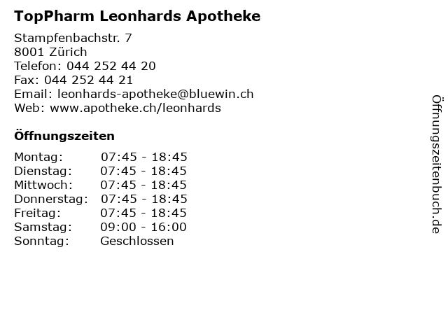 TopPharm Leonhards Apotheke in Zürich: Adresse und Öffnungszeiten