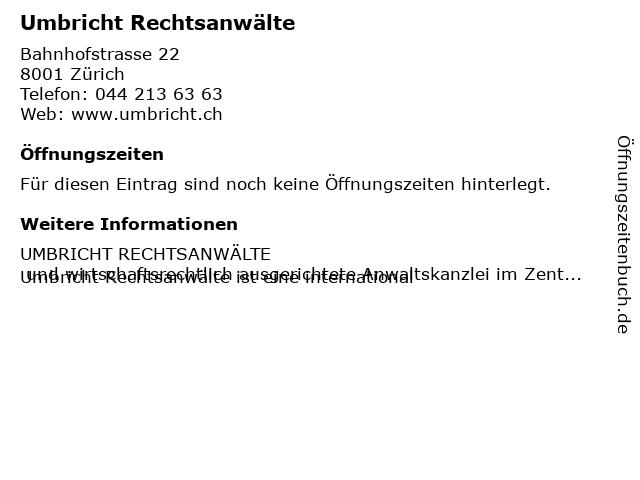 Umbricht Rechtsanwälte in Zürich: Adresse und Öffnungszeiten