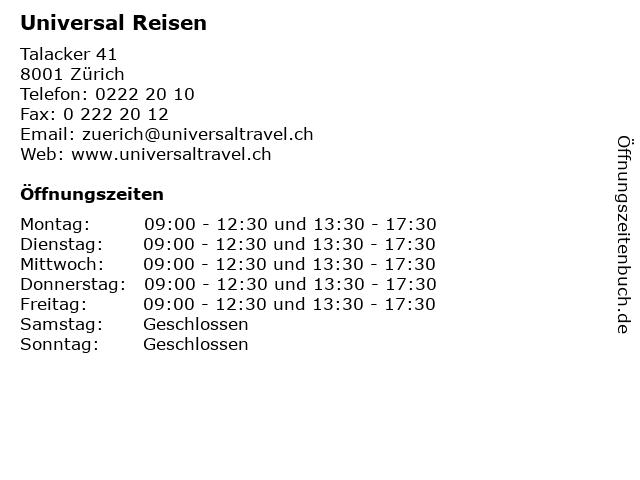 Universal Reisen in Zürich: Adresse und Öffnungszeiten