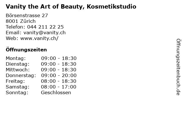 Vanity the Art of Beauty, Kosmetikstudio in Zürich: Adresse und Öffnungszeiten