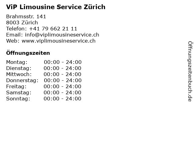 ViP Limousine Service Zürich in Zürich: Adresse und Öffnungszeiten