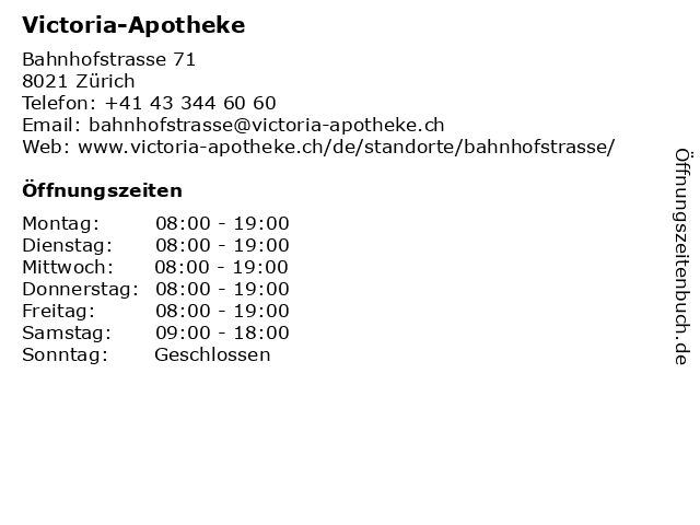 Victoria-Apotheke in Zürich: Adresse und Öffnungszeiten