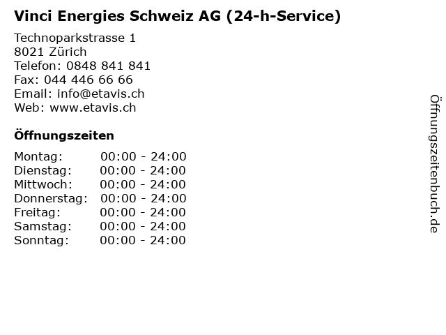 Vinci Energies Schweiz AG (24-h-Service) in Zürich: Adresse und Öffnungszeiten