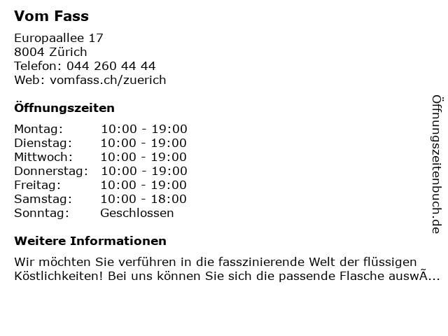 Vom Fass in Zürich: Adresse und Öffnungszeiten