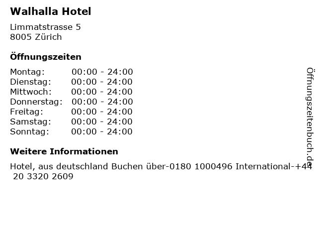 Walhalla Hotel in Zürich: Adresse und Öffnungszeiten