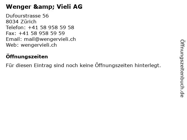 Wenger & Vieli AG in Zürich: Adresse und Öffnungszeiten