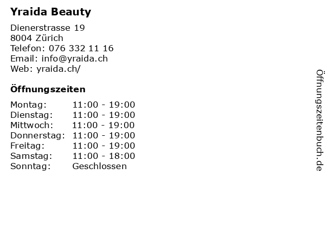 Yraida Beauty in Zürich: Adresse und Öffnungszeiten