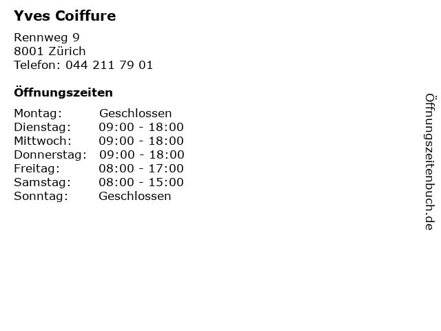 ᐅ Offnungszeiten Yves Coiffure Rennweg 9 In Zurich