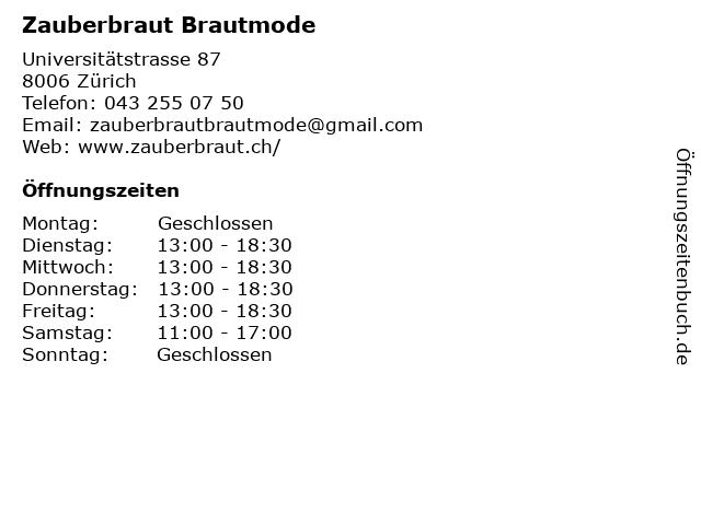 Zauberbraut Brautmode in Zürich: Adresse und Öffnungszeiten