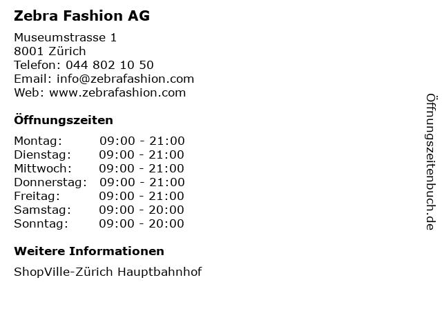 Zebra Fashion AG in Zürich: Adresse und Öffnungszeiten