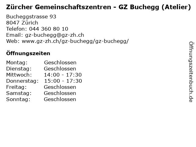 Zürcher Gemeinschaftszentren - GZ Buchegg (Atelier) in Zürich: Adresse und Öffnungszeiten