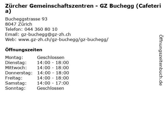 Zürcher Gemeinschaftszentren - GZ Buchegg (Cafeteria) in Zürich: Adresse und Öffnungszeiten
