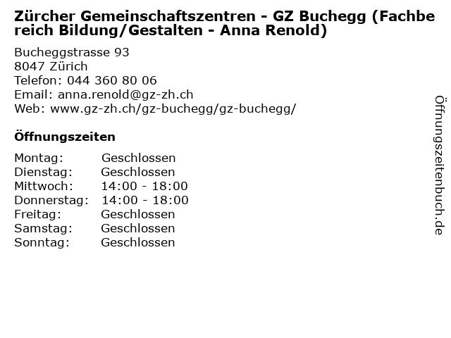 Zürcher Gemeinschaftszentren - GZ Buchegg (Fachbereich Bildung/Gestalten - Anna Renold) in Zürich: Adresse und Öffnungszeiten