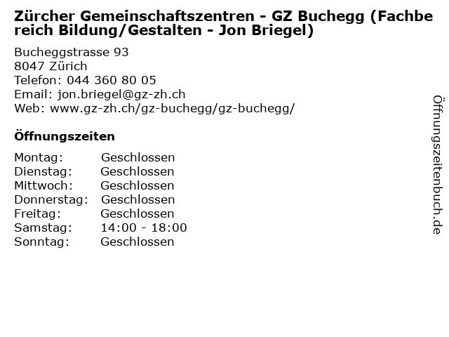 Zürcher Gemeinschaftszentren - GZ Buchegg (Fachbereich Bildung/Gestalten - Jon Briegel) in Zürich: Adresse und Öffnungszeiten