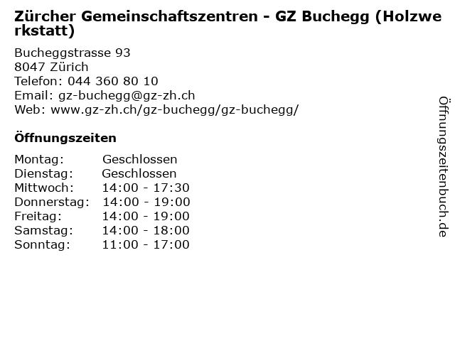 Zürcher Gemeinschaftszentren - GZ Buchegg (Holzwerkstatt) in Zürich: Adresse und Öffnungszeiten