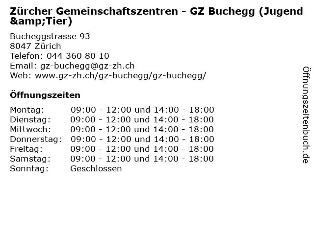 Zürcher Gemeinschaftszentren - GZ Buchegg (Jugend&Tier) in Zürich: Adresse und Öffnungszeiten