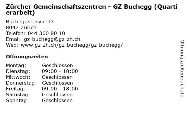 Zürcher Gemeinschaftszentren - GZ Buchegg (Quartierarbeit) in Zürich: Adresse und Öffnungszeiten