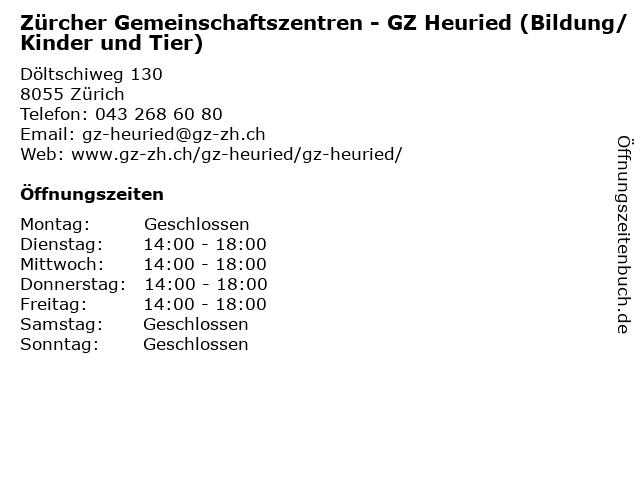 Zürcher Gemeinschaftszentren - GZ Heuried (Bildung/Kinder und Tier) in Zürich: Adresse und Öffnungszeiten