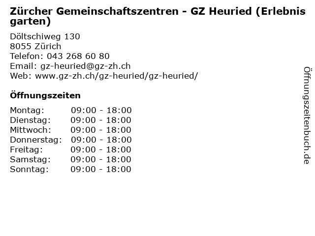 Zürcher Gemeinschaftszentren - GZ Heuried (Erlebnisgarten) in Zürich: Adresse und Öffnungszeiten