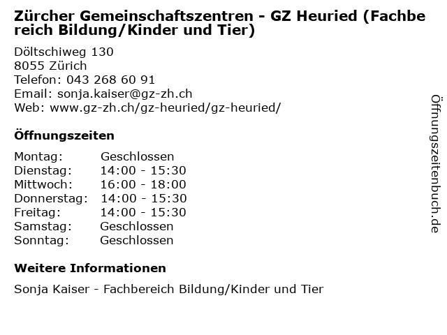 Zürcher Gemeinschaftszentren - GZ Heuried (Fachbereich Bildung/Kinder und Tier) in Zürich: Adresse und Öffnungszeiten