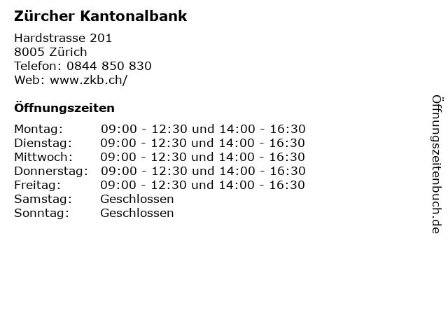 Zürcher Kantonalbank in Zürich: Adresse und Öffnungszeiten