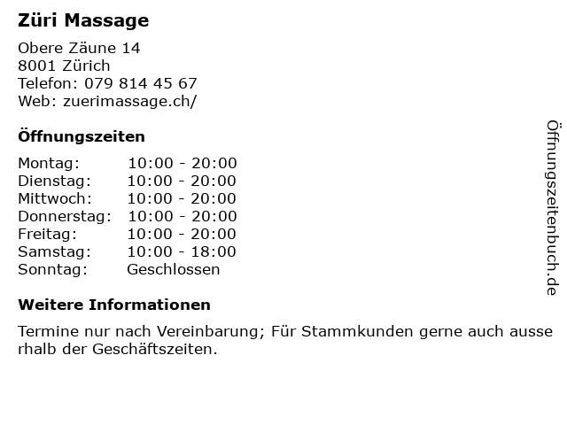 Züri Massage in Zürich: Adresse und Öffnungszeiten