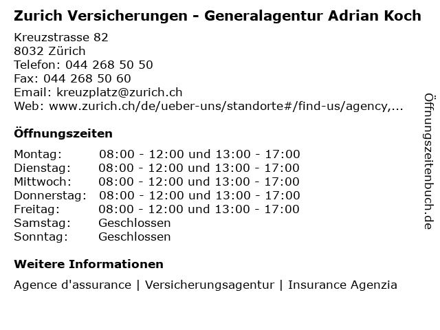ᐅ Offnungszeiten Zurich Versicherungen Generalagentur Adrian