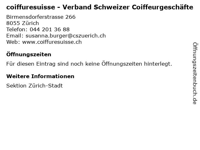 ᐅ Offnungszeiten Coiffuresuisse Verband Schweizer