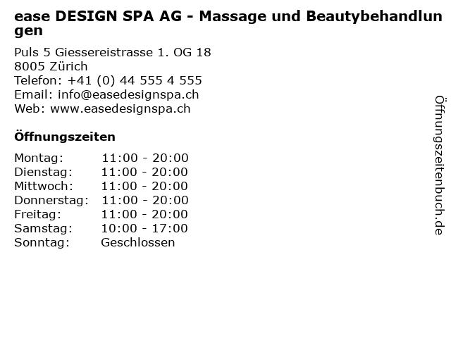 ease DESIGN SPA AG - Massage und Beautybehandlungen in Zürich: Adresse und Öffnungszeiten