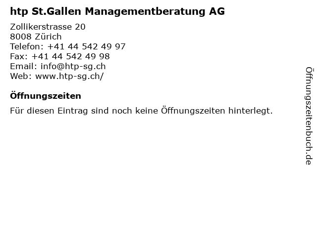 htp St.Gallen Managementberatung AG in Zürich: Adresse und Öffnungszeiten