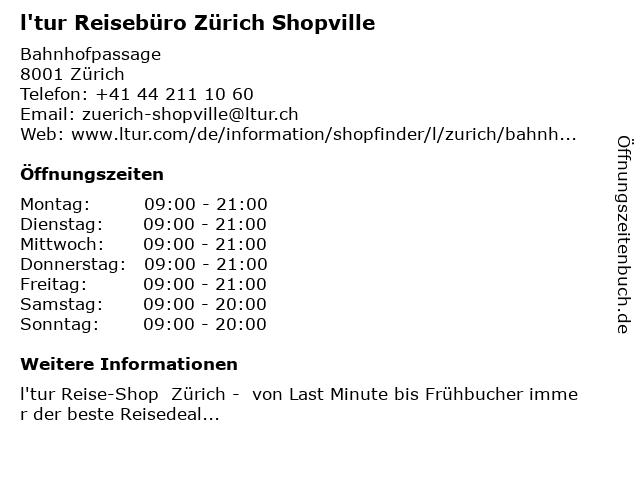 l'tur Reisebüro Zürich Shopville in Zürich: Adresse und Öffnungszeiten