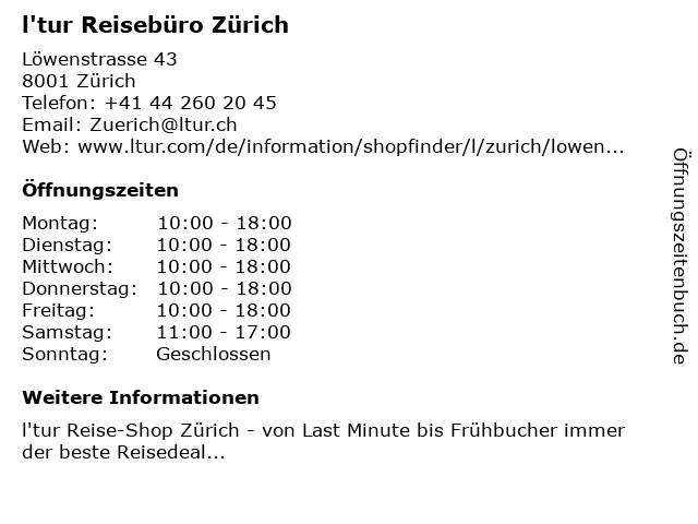 l'tur Reisebüro Zürich in Zürich: Adresse und Öffnungszeiten