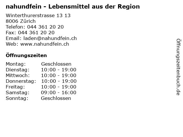 nahundfein - Lebensmittel aus der Region in Zürich: Adresse und Öffnungszeiten